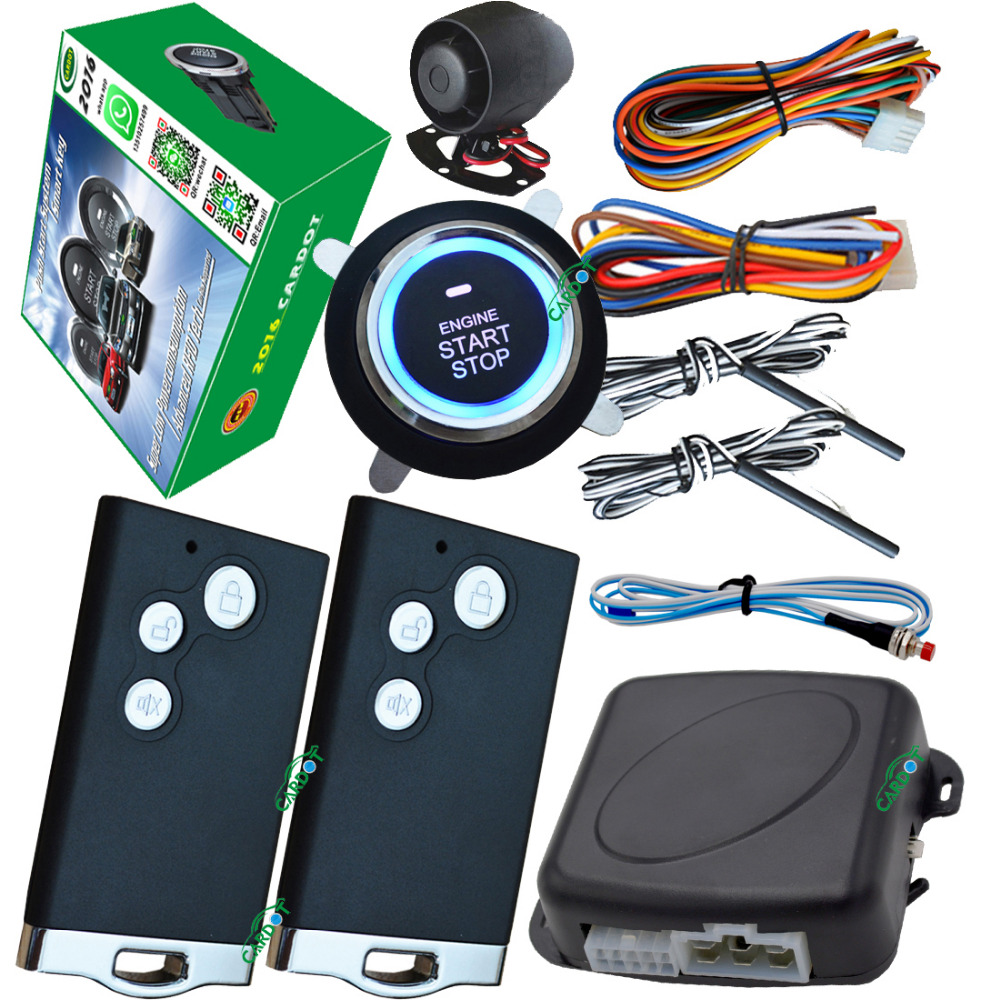 pke smart car alarm system card smart key entry push button start stop mute arm or disarm remote engine start stop push start car alarm system pke smart key touch password entry power saving remote engine start starter push start stop button dc12v