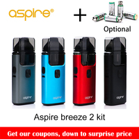Big sale!! Original Aspire Breeze 2 AIO Kit Built in 1000mAh Battery with 2ml/3ml Tank Atomizer Electronic Cigarette Vape Kit