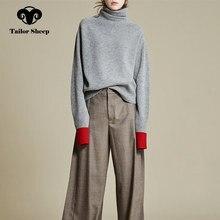 Europa USA new spessore maglione di lana femminile di alta collare pigro sciolto maglione di cachemire donne splicing maniche Joker pullover