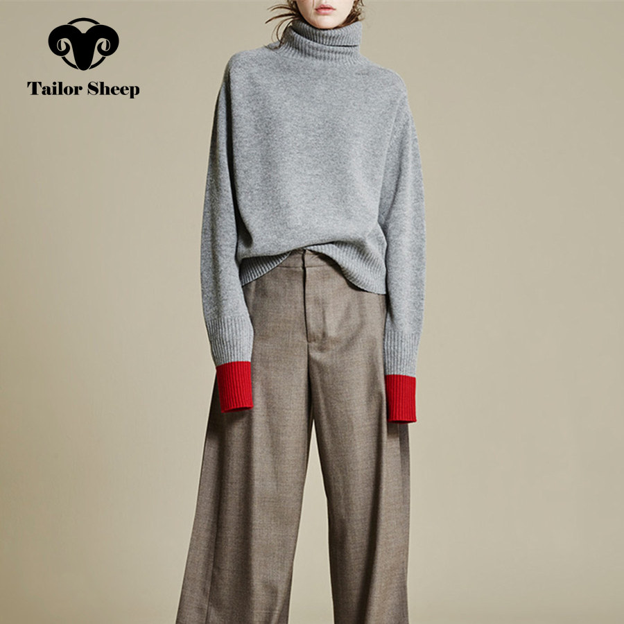 Europe US New Thick Wool Sweater Female High Collar Lazy Loose Cashmere Sweater Women Splicing Sleeves Joker Pullover
