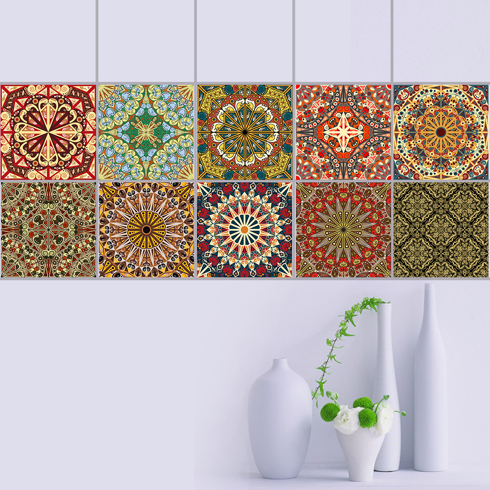 10pcs 15/20cm DIY The Arab Style Mosaic Wall Stickers Waist Line Kitchen Adhesive Bathroom Toilet Waterproof PVC Wall Sticker