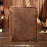 BLACK ANGEL Vintage Crazy Horse Leather Men Wallets Genuine Cow Leather Vertical Trifold Wallet Card Holder Coin Purse