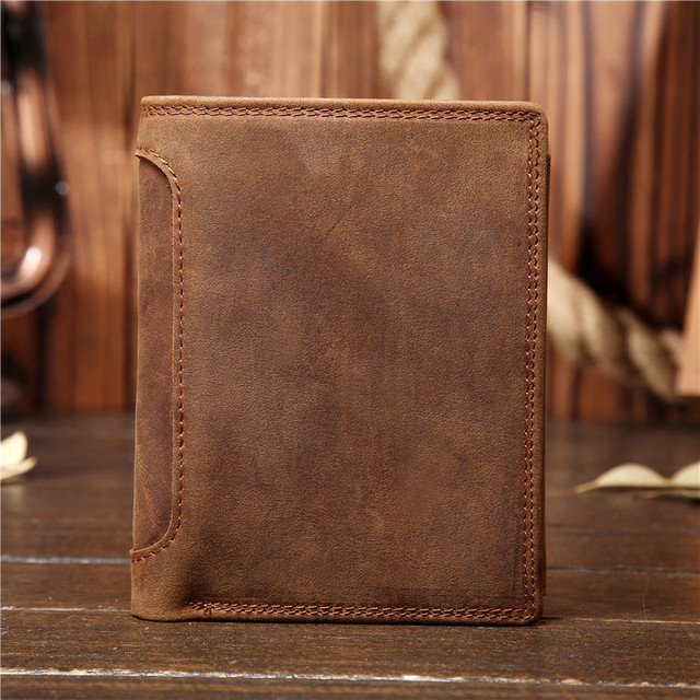 Vintage Crazy Horse Leather Men Wallets Genuine Cow Leather Vertical Trifold Wallet Card Holder Coin Purse