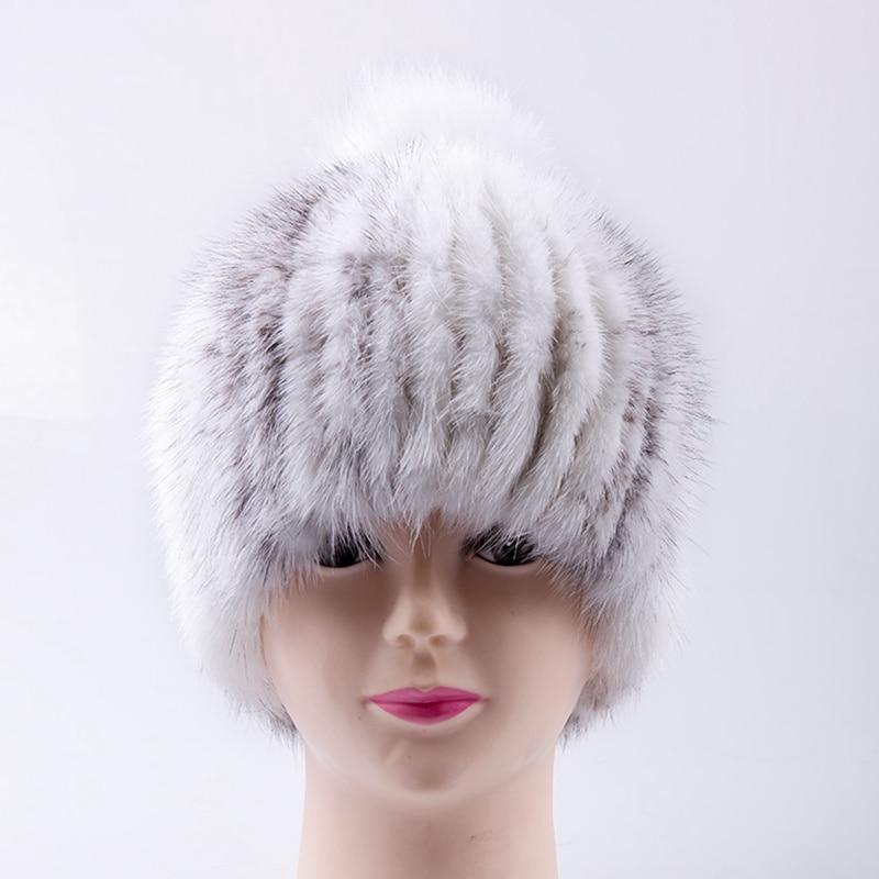 Handmade Russian Women Real Mink Fur Skullies Beanies Hats Fox Fur Poms Pom Winter Lady Warm Caps Fashion Headgear LF4306