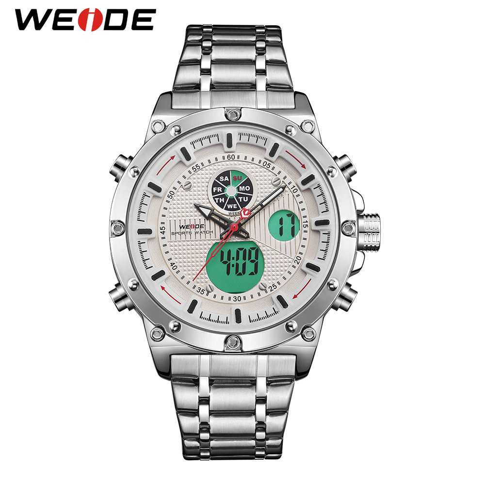 WEIDE Sports Luxury Brand Military Army Stylish Dual Quartz Analog Digital Stainless Steel Strap Wrist Watch Relogio Masculino weide wh1101 stainless steel digital analog quartz led wrist watch for men 1 x sr626