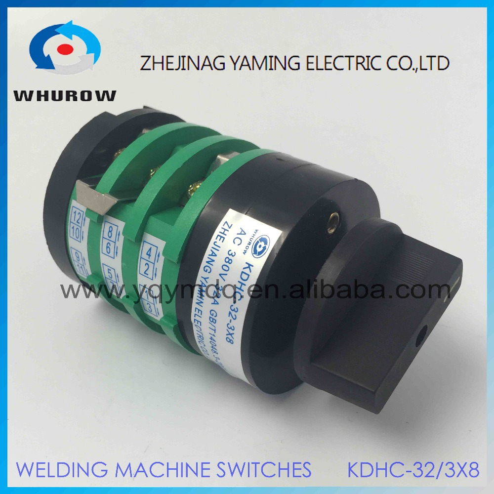 8 position rotary switch KDHC-32/3X8 welding machine switch AC50Hz 32A 3 poles green universal changeover rotary cam switch load circuit breaker switch ac ui 660v ith 100a on off 3 poles 3 phases 3no 2 position universal rotary cam changeover switch