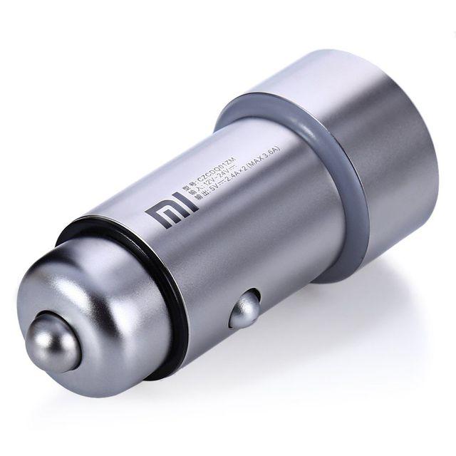 Original xiaomi de metal universal carro carregador rápido carregamento dual usb carregador portátil de entrada de saída 12-24 v com led indicam luz