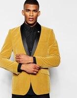Últimas Bragas de la Capa Diseño Mantón de la Solapa de Los Hombres Traje de Terciopelo de Oro Amarillo Slim Fit 2 Unidades Novio Tuxedo Custom Prom Blazer Terno masculino