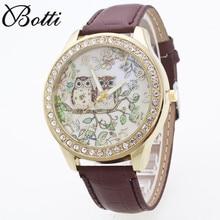 2017 Hot Relogio Feminino Leather Diamond Dress Watch Elegant Watches Women Fashion Women Watches Owl Cartoon Wristwatch Lady's