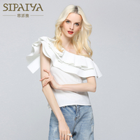 SIPAIYA One Shoulder Ruffles Blouse Shirt Women Tops 2017 Summer Casual Style Sleeveless Cool Blouse Summer