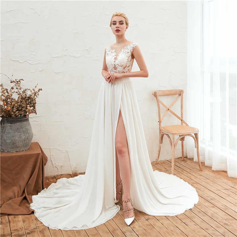 2019 Beach Wedding Dress Lace Boho Bridal Gown Cap Sleeves Slit Side A Line Chiffon Wedding Gown Vestido De Noiva Robe De Mariee