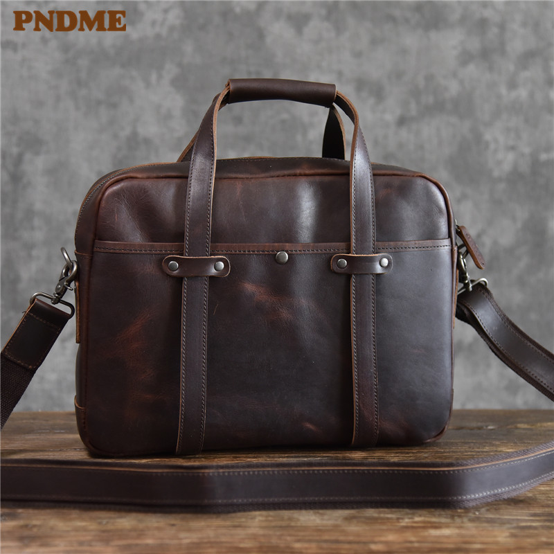 PNDME High Quality Vintage Genuine Leather Men's Briefcase Business Casual Simple Office Handmade Crazy Horse Cowhide Laptop Bag