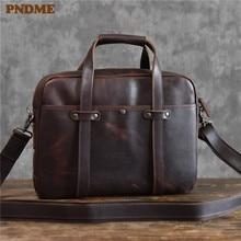PNDME high quality vintage genuine leather men's briefcase business casual simple office handmade crazy horse cowhide laptop bag