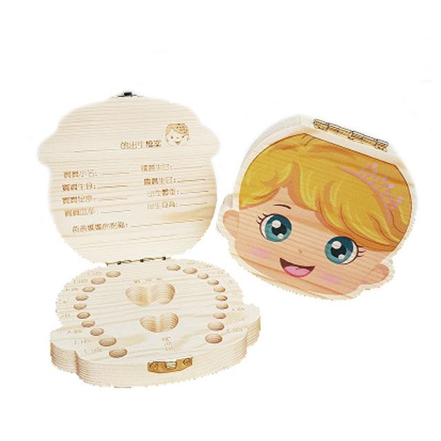 Creative Baby Tooth Box Organizer Save Boxes Milk Teeth Organizer Wood Storage Box Tooth Album Keepsake Souvenir Save Box Gifts