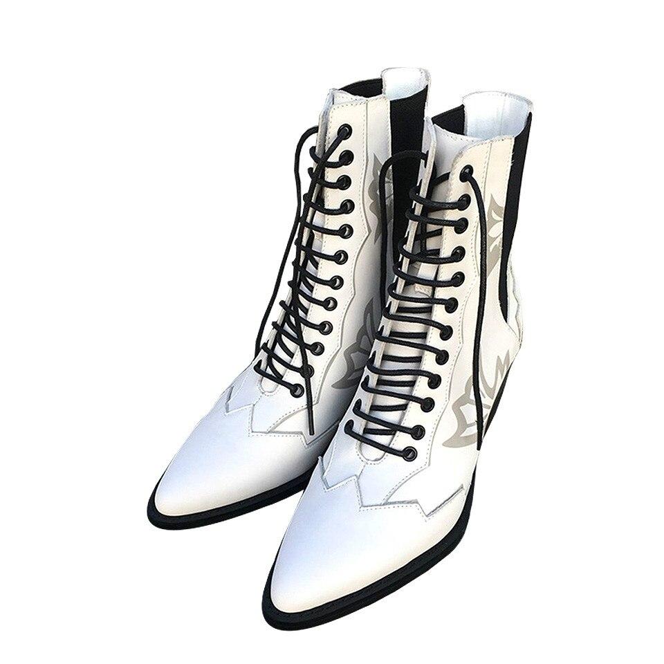 Chaussures Femme Point up Véritable Haute Mode De Bottes Conceptions Parti Talons Sculpté Noir Cheville Blanc Toe Femmes blanc Noir Dentelle Martin Cuir 8wzZA6wvWq