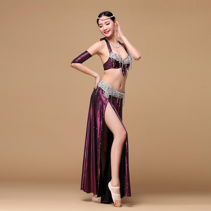 NEW Practice Dancewear Modal Blouse+Long Skirt 2pc set Belly Dance Costumes CZ