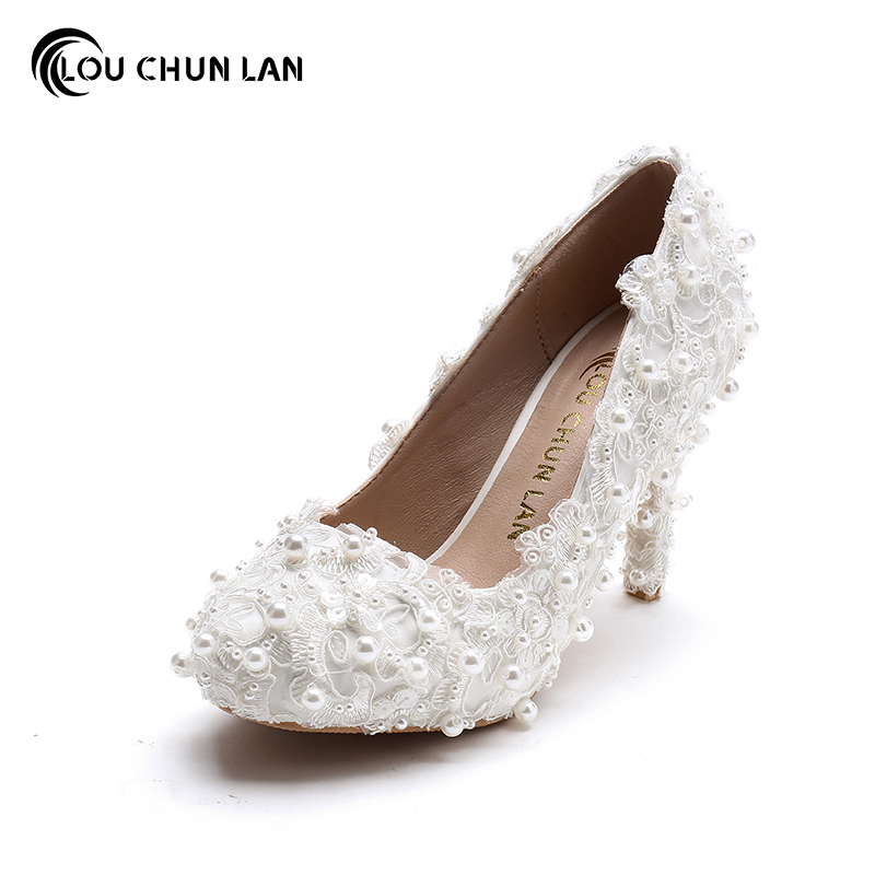 где купить  2015 White sweet Lace Pearl Bridal Shoes Ultra High Heels platform Formal Dress Shoes single Shoes Women Pumps 14cm Party  по лучшей цене