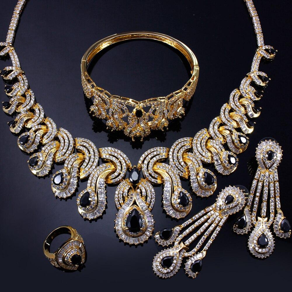 Ensembles de bijoux de mariée de luxe pour femmes avec zircon cubique 4 pièces (collier + bracelet + boucles d'oreilles + anneau) livraison gratuite - 4