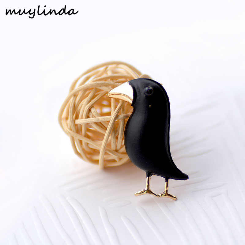 muylinda Black Crows Metal Brooches For Women Jewellery Women Party birds Broach Brooch and Pins Clothes Scarf Jewelry