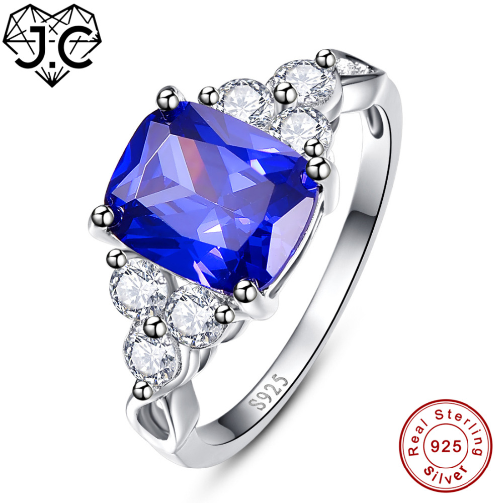 J.C Pretty Sapphire Blue & Tanzanite & White Topaz 925 Sterling Silver Ring Size 6 7 8 9 For Women Men Engagement Fine Jewelry