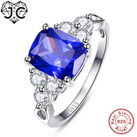 J C Pretty Sapphire Blue Tanzanite White Topaz 925 Sterling Silver Ring Size 6 7 8