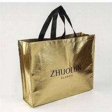 Venta al por mayor, 500 unidades/lote, diferentes tamaños, bolsa promocional no tejida brillante personalizada/bolsa personalizada, bolsas de compras reutilizables para regalo