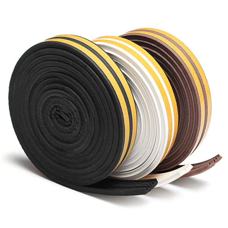 5M E-type Foam Draught Self Adhesive Window Door Excluder Rubber Seal Strip 5m self adhesive seal strip door draught excluder window pile seal film weather strip for door brush seal sealing strip 3 sizes