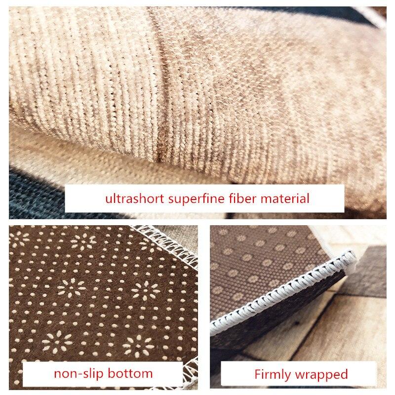 Ins nordique grain de bois géométrique dégradé salon tapis chambre chevet tapis étude tapis de sol antidérapant superfine fiber tapis - 4