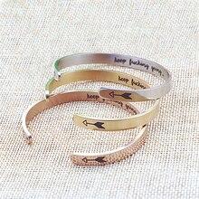 Hot Inspirational Bracelet Silver /Gold Keep Going Cuff Bracelets Bangles for Women Men Titanium Steel Jewelry Best Friend Gifts недорого