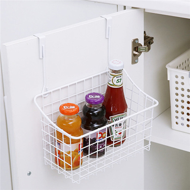 White Metal Cupboard Spice Rack Storage Organizer Single Hanging