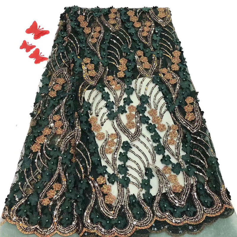(5yards/pc) deep green African tulle lace fabric with 3D flowers French net lace fabric with sequins embroidery and beads FZZ076(5yards/pc) deep green African tulle lace fabric with 3D flowers French net lace fabric with sequins embroidery and beads FZZ076