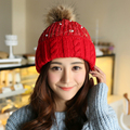 Gorra de piel de visón y zorro pompones sombrero de invierno para las mujeres de la muchacha del sombrero de lana de punto gorros cotton cap estrenar grueso hembra cap