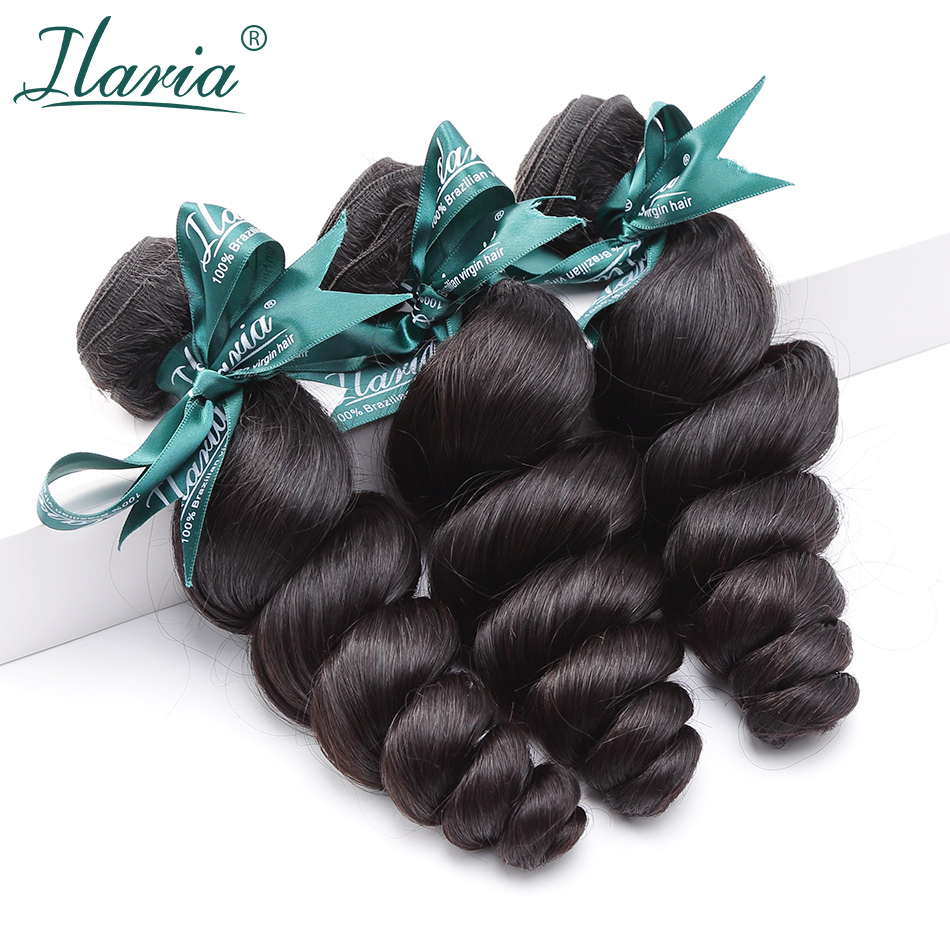 ILARIA HAIR Brazilian Loose Wave Virgin Hair Bundles 100% Human Hair Extensions Natural Color Full Bundle No Tangle No Sheding