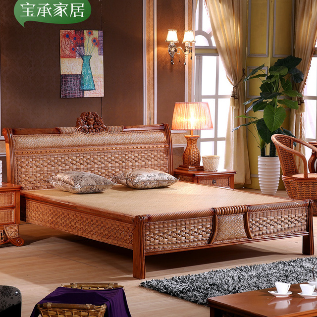 Leisure Southeast Asia Indonesia Rattan Bed Hotel Room Wooden Wood