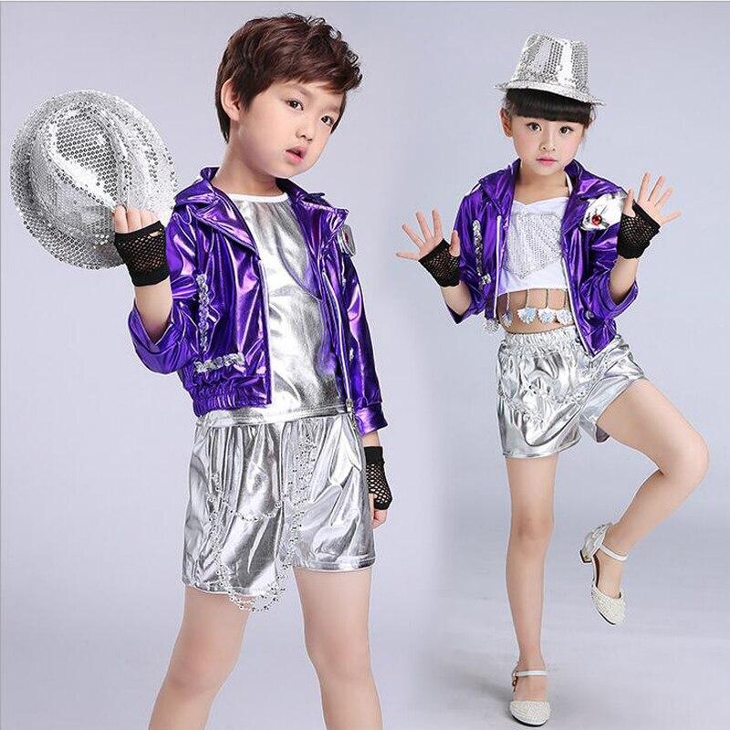 Niñas Niños oro plata Salón Jazz hip hop danza competición traje ...