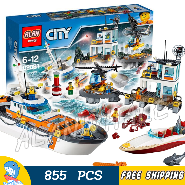 855pcs City Coast Guard Head Quarters Ship Helicopter Boat 02081 Model Building Blocks Children Toys Bricks Compatible With lego lepin 02070 492pcs city series coast guard model building blocks bricks toys for children gift