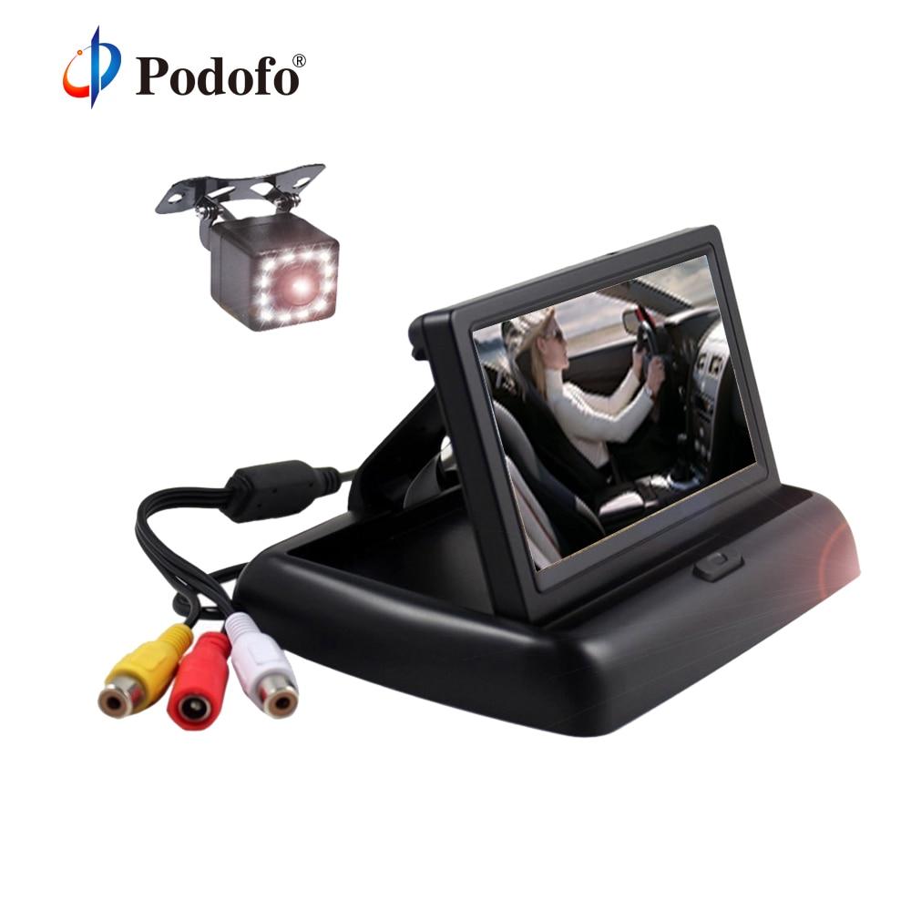 """Podofo складной автомобиль Мониторы 4.3 """"HD ЖК-дисплей Дисплей 2 в 1 помощи при парковке в тире Мониторы с Ночное видение резервного копирования заднего Камера"""