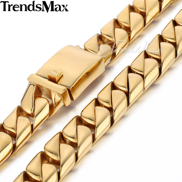 Trendsmax 16mm Heavy Curb Link Gold-color 316L Stainless Steel Necklace Mens Chain Jewelry HNM16