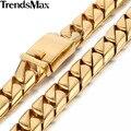 Trendsmax 16mm Pesado Curb Enlace Collar de Cadena Para Hombre de Acero Inoxidable 316L Chapado En Oro Joyería HNM16