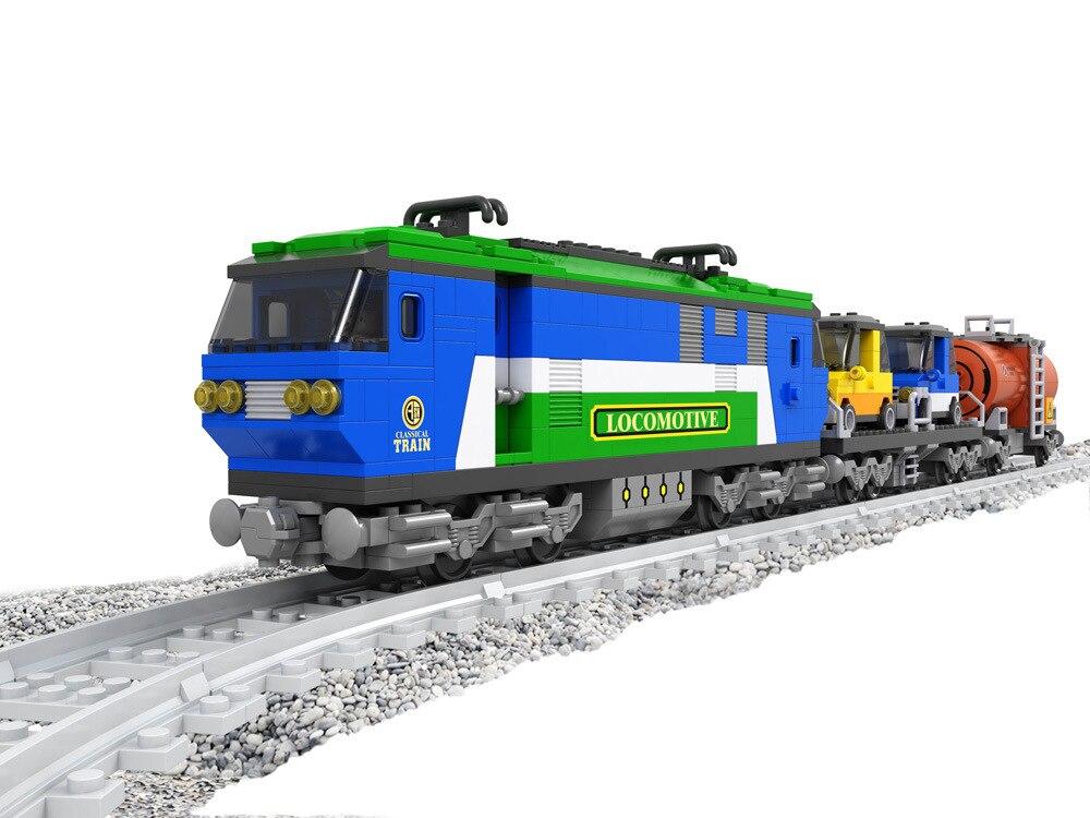 Model building kits compatible with lego Train Rail Rollingstock 3D blocks Educational model building toys hobbies for children цена