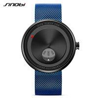 SINOBI 2017 Men S Creative Milan Strap Wrist Watches Relogio Watch Rotate Dial Plate Wrist Free