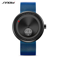 SINOBI 2017 Men S Creative Milan Strap Wrist Watches Relogio Watch Rotate Dial Plate Wrist Free