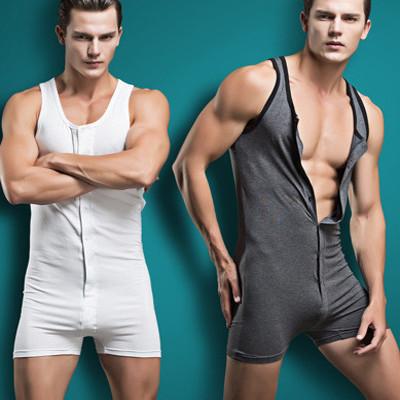2015-new-arrivel-Men-sexy-Bodywear-Bodysuit-hot-shapers-men-Singlet-male-Sleepwear-button-Cotton-Pajamas