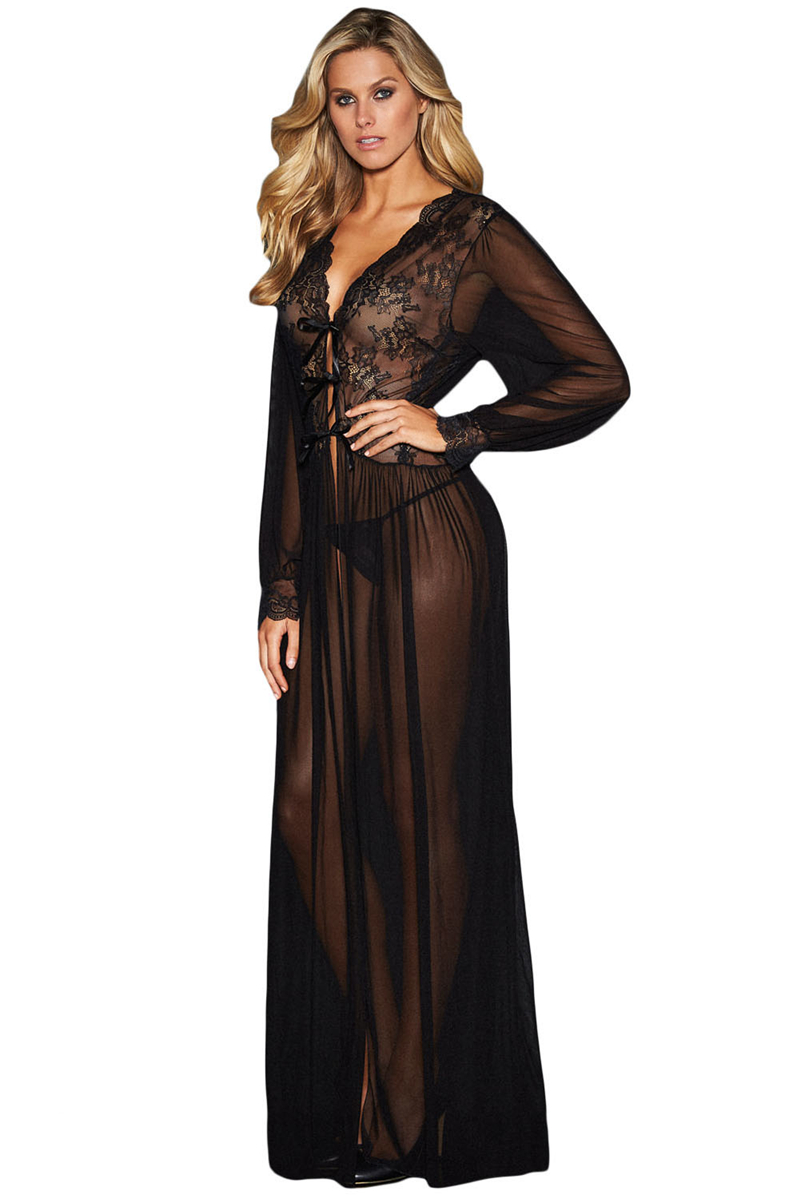 Sheer-Long-Sleeve-Lace-Robe-with-Thong-LC31037-2-2