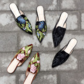 2017 Spring Women Embroided Shoes High Quality Velvet Pointed Toe Slippers Vintage Stuffies Embroidery Flower Slippers