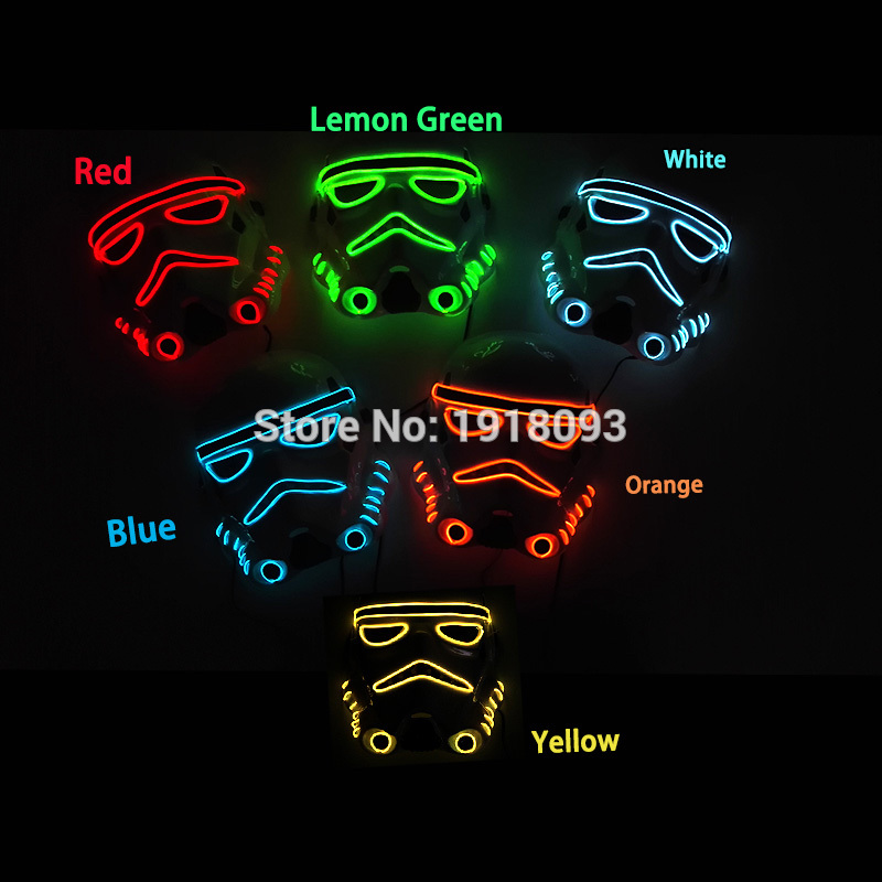 2019 New 10Color Select Flashing Star Wars Theme Mask Glowing EL Wire Neon Light Decor Mask Novelty Lighting For Festival Decor