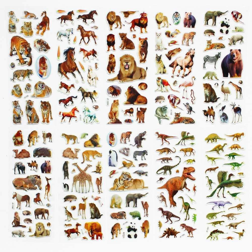5 Sheets/set  Wildlife Wild Animals Scrapbooking Bubble Puffy Stickers Kawaii Emoji Reward Kids Toys Factory Direct Sales   ST01