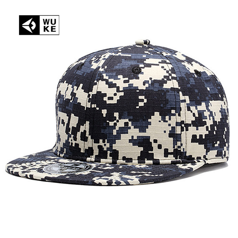 [Wuke] 3 Colors Brand Camo Hip Hop   Baseball     Caps   Snapbacks Camouflage ACU Digital Snapback Hat Adjustable For Men Women 55~61CM