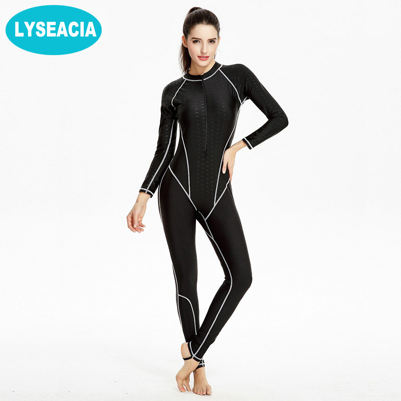LYSEACIA Sharkskin Diving Suit Quick Dry Wetsuit Women Long Sleeve Swimwear for Women Summer Swim Plus Size One Piece Swimsuit high quality zipper long sleeve women swimsuit round collar sexy one pieces swimwear girl wetsuit diving swimming suit