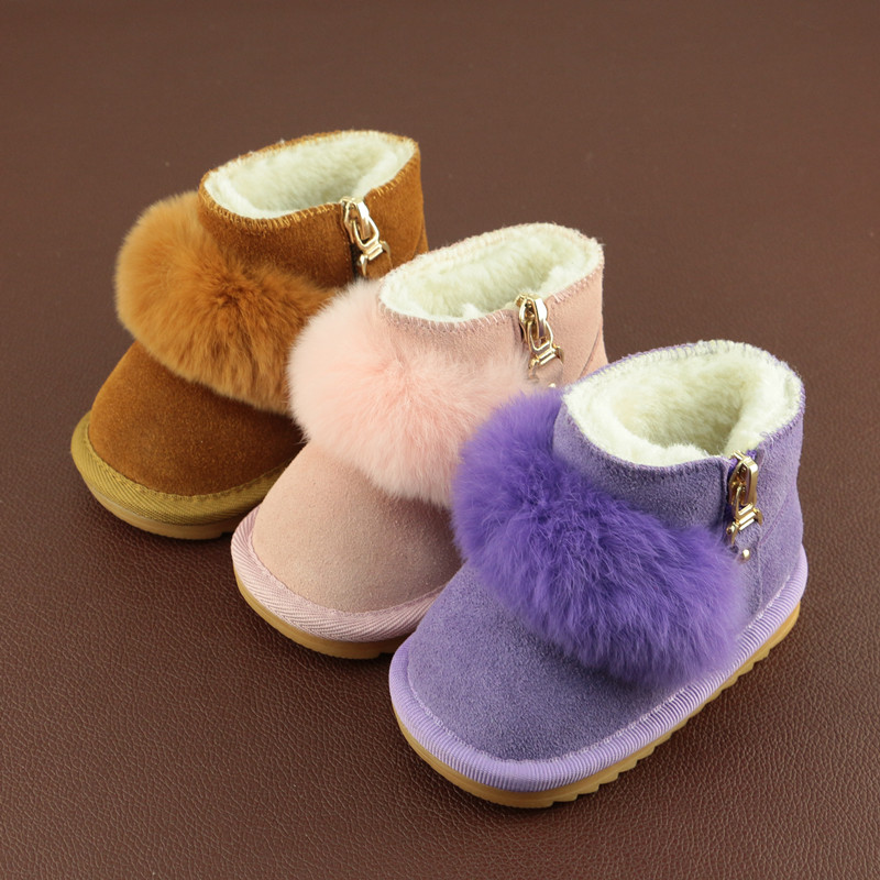 2019 Winter New Baby Snow Boots Baby Shoes Winter Warm Genuine Leather Snow Boots For Babies With Cute Fur